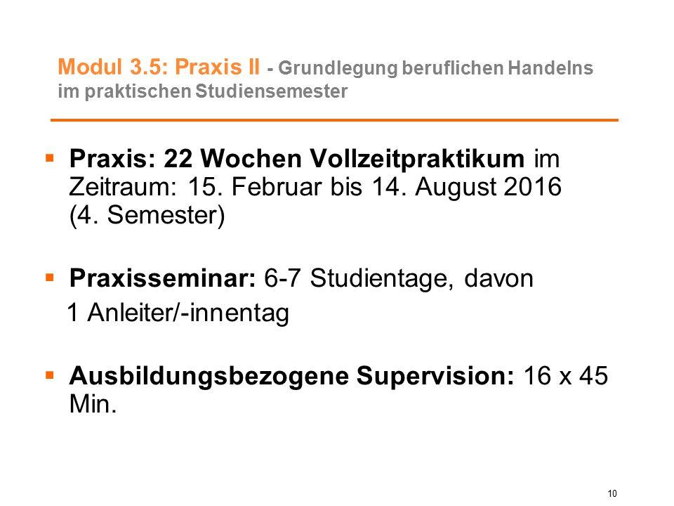 Modul 3.5: Praxis II - Grundlegung beruflichen Handelns im praktischen Studiensemester  Praxis: 22 Wochen Vollzeitpraktikum im Zeitraum: 15. Februar