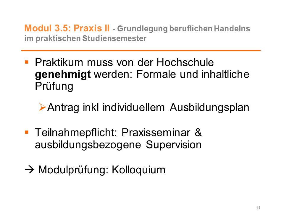 Modul 3.5: Praxis II - Grundlegung beruflichen Handelns im praktischen Studiensemester  Praktikum muss von der Hochschule genehmigt werden: Formale u