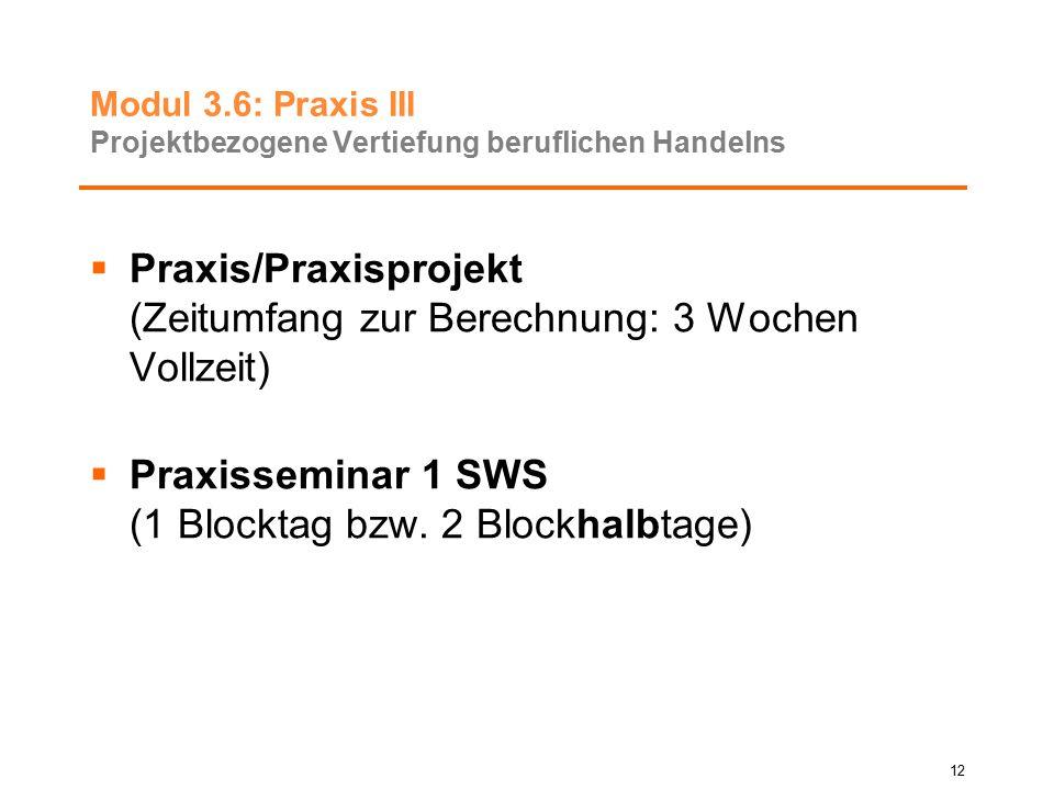 Modul 3.6: Praxis III Projektbezogene Vertiefung beruflichen Handelns  Praxis/Praxisprojekt (Zeitumfang zur Berechnung: 3 Wochen Vollzeit)  Praxisse
