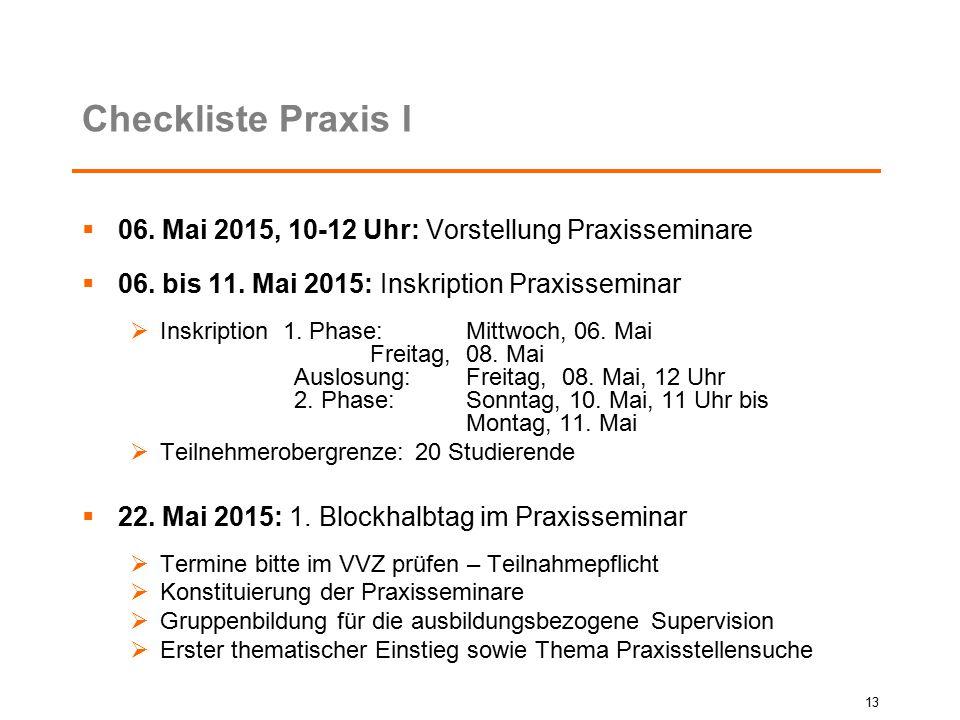Checkliste Praxis I  06. Mai 2015, 10-12 Uhr: Vorstellung Praxisseminare  06. bis 11. Mai 2015: Inskription Praxisseminar  Inskription 1. Phase: Mi