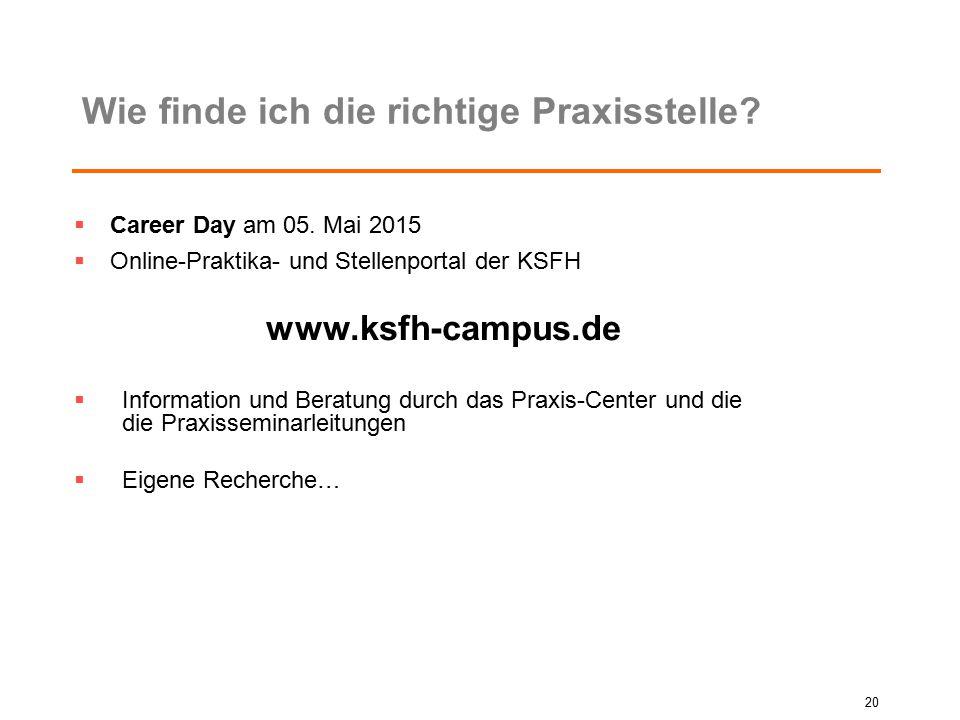 Wie finde ich die richtige Praxisstelle?  Career Day am 05. Mai 2015  Online-Praktika- und Stellenportal der KSFH www.ksfh-campus.de  Information u