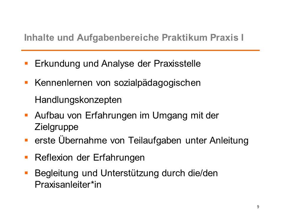 Inhalte und Aufgabenbereiche Praktikum Praxis I  Erkundung und Analyse der Praxisstelle  Kennenlernen von sozialpädagogischen Handlungskonzepten  A