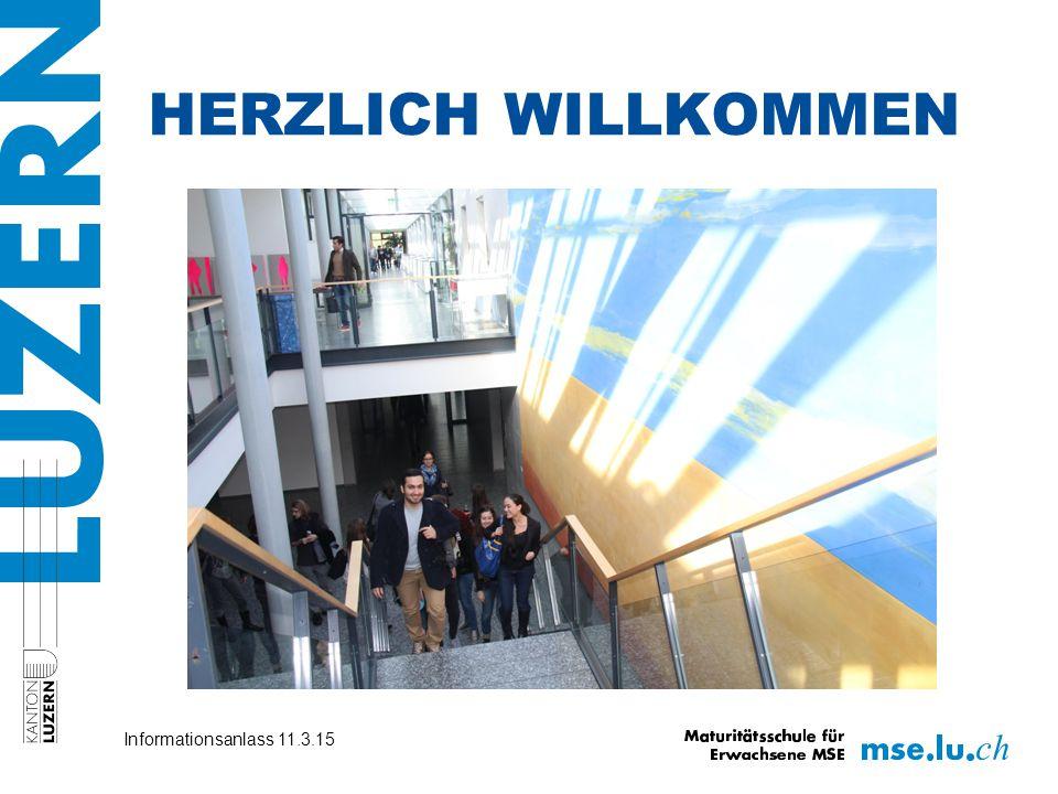 HERZLICH WILLKOMMEN Info-Anlass Vorkurs 2014 Informationsanlass 11.3.15