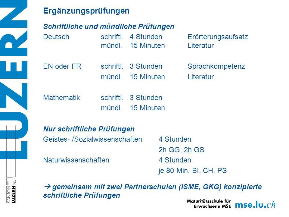 Ergänzungsprüfungen Schriftliche und mündliche Prüfungen Deutsch schriftl.