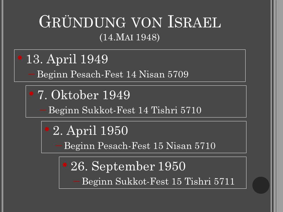 G RÜNDUNG VON I SRAEL (14.M AI 1948) 13. April 1949  Beginn Pesach-Fest 14 Nisan 5709 7. Oktober 1949  Beginn Sukkot-Fest 14 Tishri 5710 2. April 19