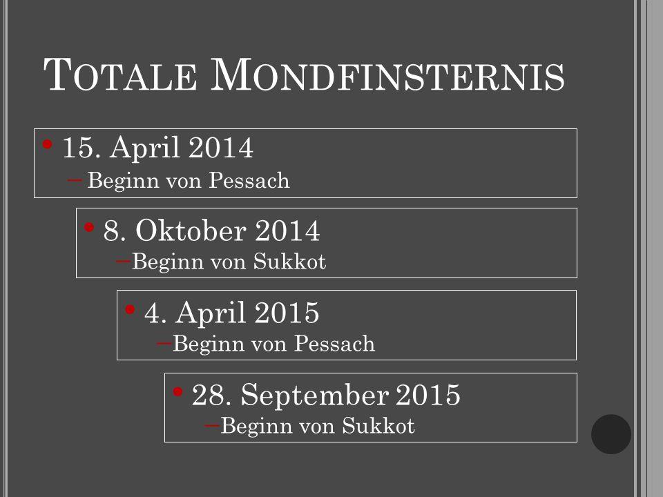 T OTALE M ONDFINSTERNIS 15. April 2014  Beginn von Pessach 8. Oktober 2014  Beginn von Sukkot 4. April 2015  Beginn von Pessach 28. September 2015