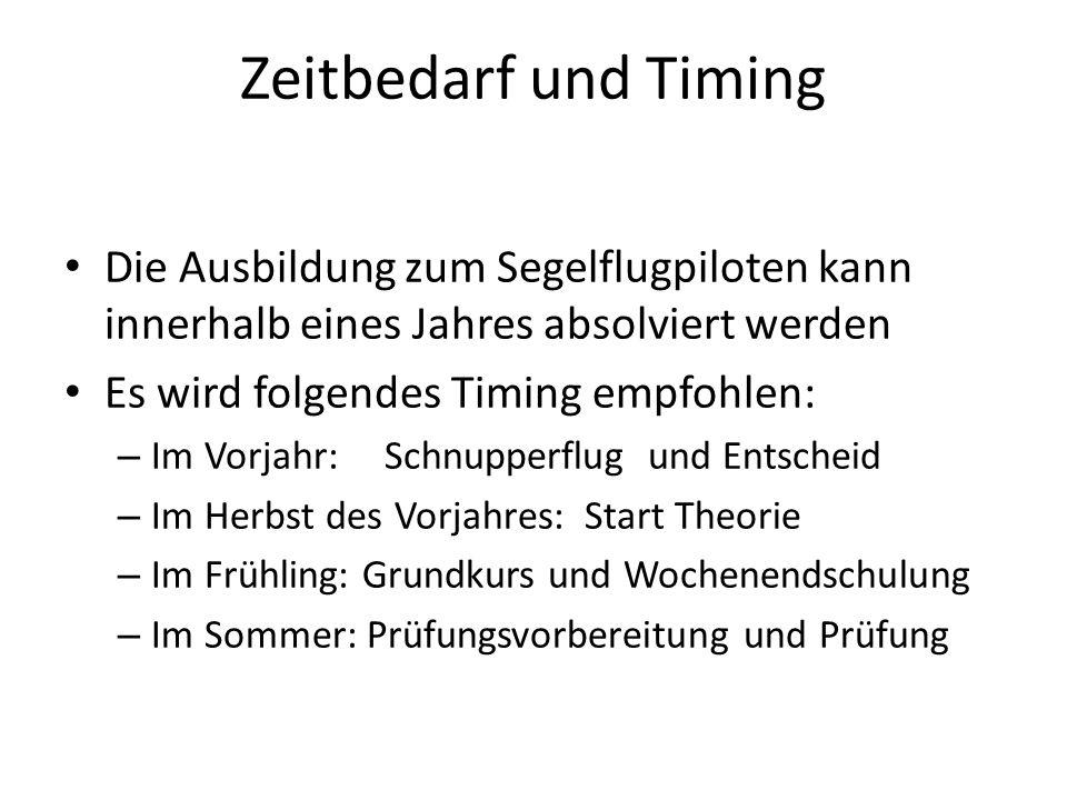 Zeitbedarf und Timing Die Ausbildung zum Segelflugpiloten kann innerhalb eines Jahres absolviert werden Es wird folgendes Timing empfohlen: – Im Vorja