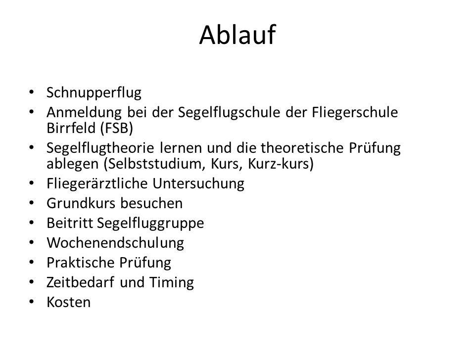 Ablauf Schnupperflug Anmeldung bei der Segelflugschule der Fliegerschule Birrfeld (FSB) Segelflugtheorie lernen und die theoretische Prüfung ablegen (