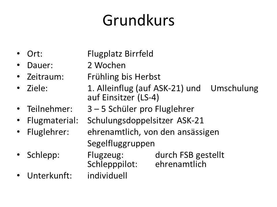 Grundkurs Ort: Flugplatz Birrfeld Dauer: 2 Wochen Zeitraum:Frühling bis Herbst Ziele: 1. Alleinflug (auf ASK-21) und Umschulung auf Einsitzer (LS-4) T
