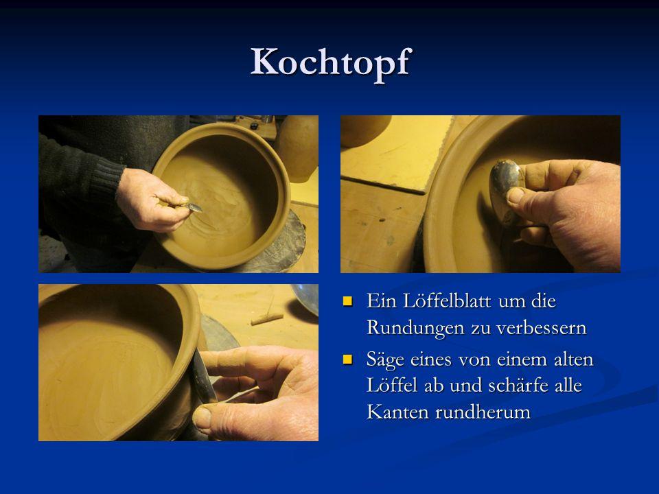 Kochtopf Ein Löffelblatt um die Rundungen zu verbessern Säge eines von einem alten Löffel ab und schärfe alle Kanten rundherum