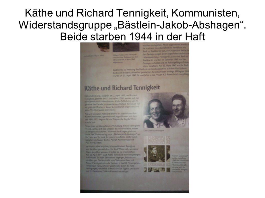 """Käthe und Richard Tennigkeit, Kommunisten, Widerstandsgruppe """"Bästlein-Jakob-Abshagen"""". Beide starben 1944 in der Haft"""
