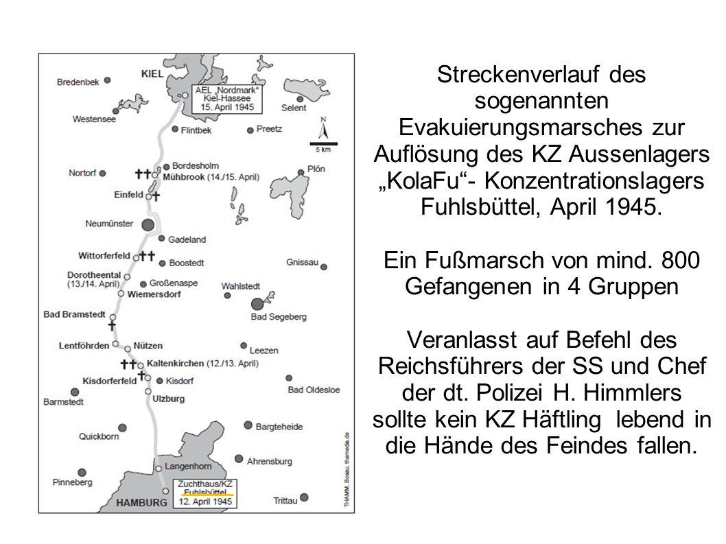 """Streckenverlauf des sogenannten Evakuierungsmarsches zur Auflösung des KZ Aussenlagers """"KolaFu""""- Konzentrationslagers Fuhlsbüttel, April 1945. Ein Fuß"""