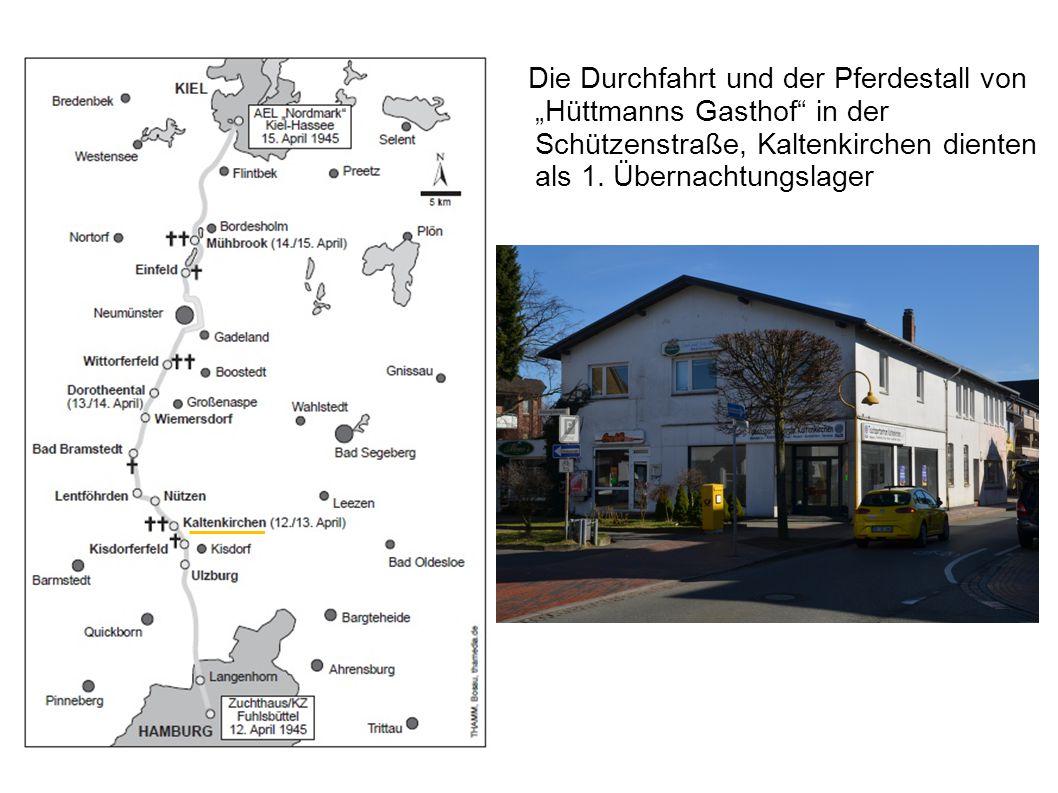 """Die Durchfahrt und der Pferdestall von """"Hüttmanns Gasthof"""" in der Schützenstraße, Kaltenkirchen dienten als 1. Übernachtungslager"""