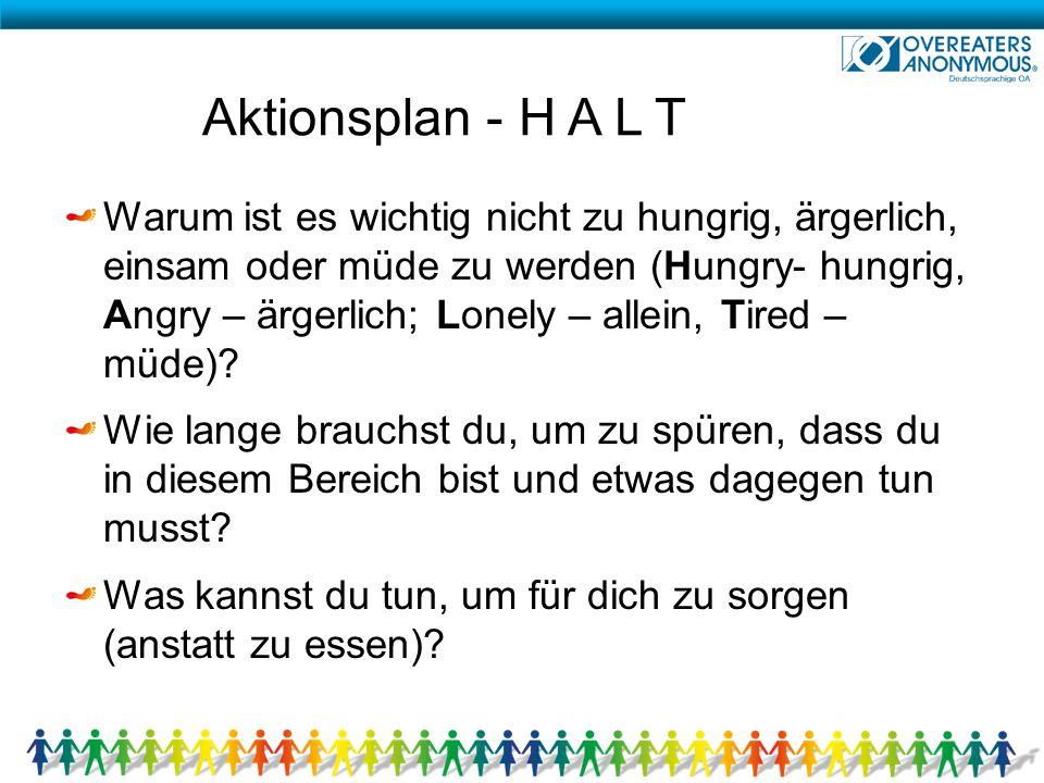 Aktionsplan - H A L T Warum ist es wichtig nicht zu hungrig, ärgerlich, einsam oder müde zu werden (Hungry- hungrig, Angry – ärgerlich; Lonely – allei