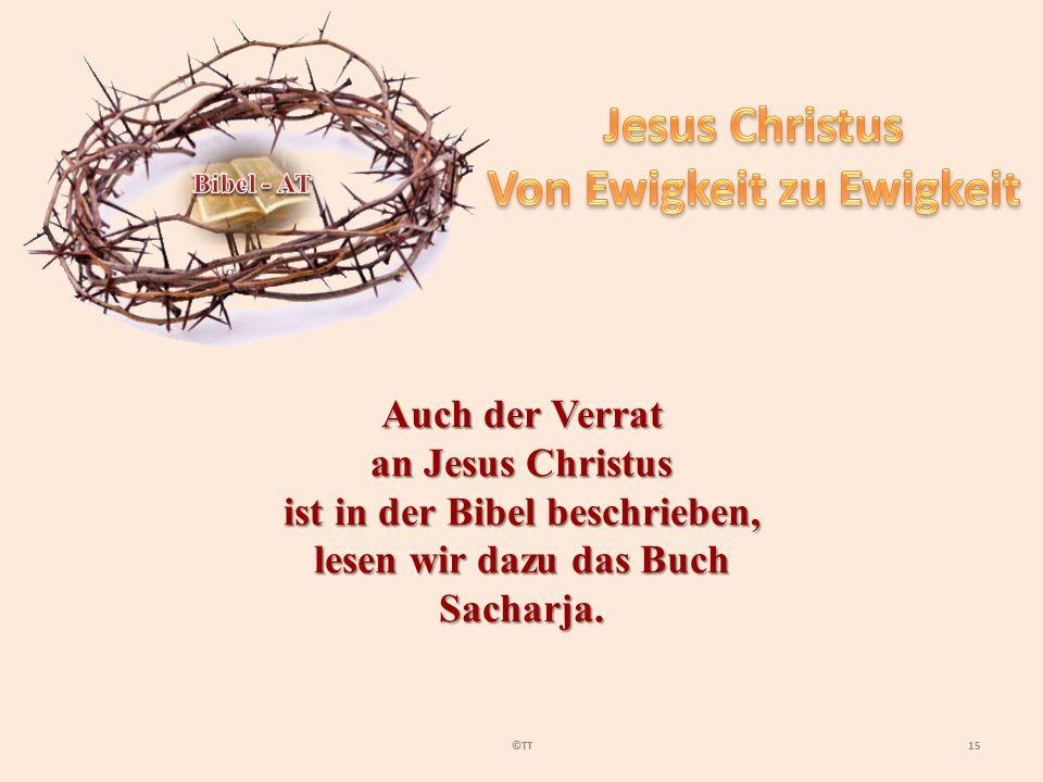 15©TT Auch der Verrat an Jesus Christus ist in der Bibel beschrieben, lesen wir dazu das Buch Sacharja.