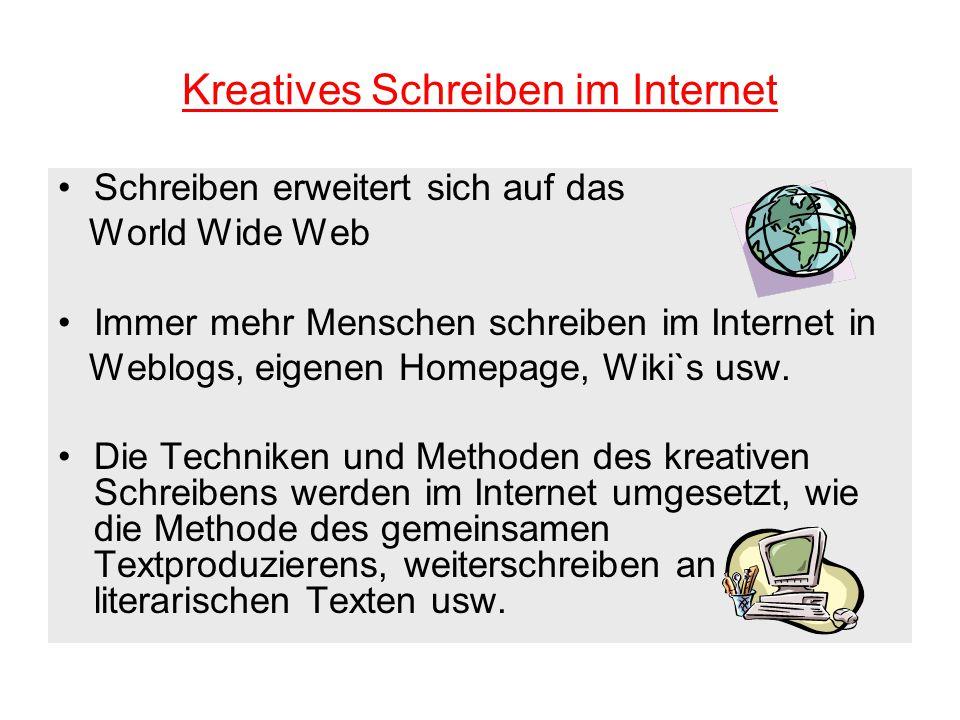 Kreatives Schreiben im Internet Schreiben erweitert sich auf das World Wide Web Immer mehr Menschen schreiben im Internet in Weblogs, eigenen Homepage