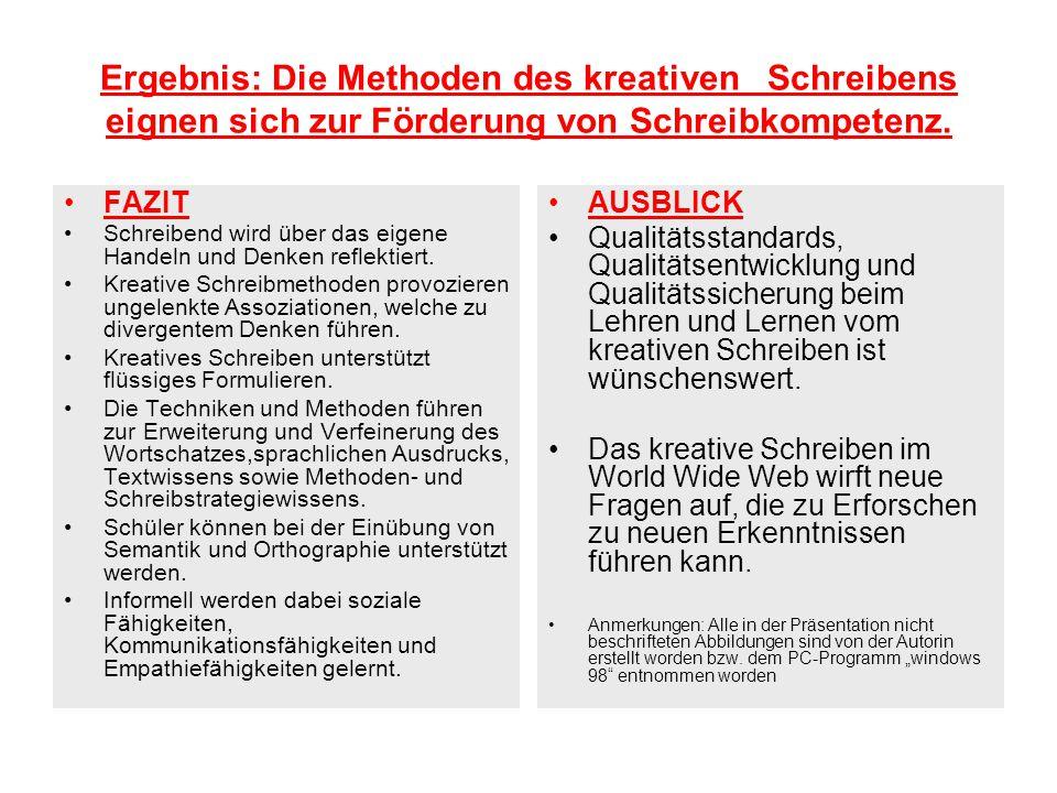 Ergebnis: Die Methoden des kreativen Schreibens eignen sich zur Förderung von Schreibkompetenz. FAZIT Schreibend wird über das eigene Handeln und Denk