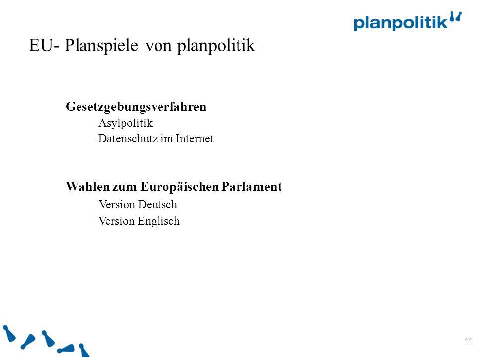 11 Gesetzgebungsverfahren Asylpolitik Datenschutz im Internet Wahlen zum Europäischen Parlament Version Deutsch Version Englisch EU- Planspiele von planpolitik