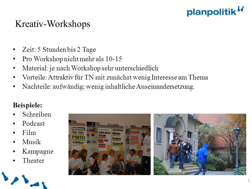Kreativ-Workshops 3 Zeit: 5 Stunden bis 2 Tage Pro Workshop nicht mehr als 10-15 Material: je nach Workshop sehr unterschiedlich Vorteile: Attraktiv für TN mit zunächst wenig Interesse am Thema Nachteile: aufwändig; wenig inhaltliche Auseinandersetzung.