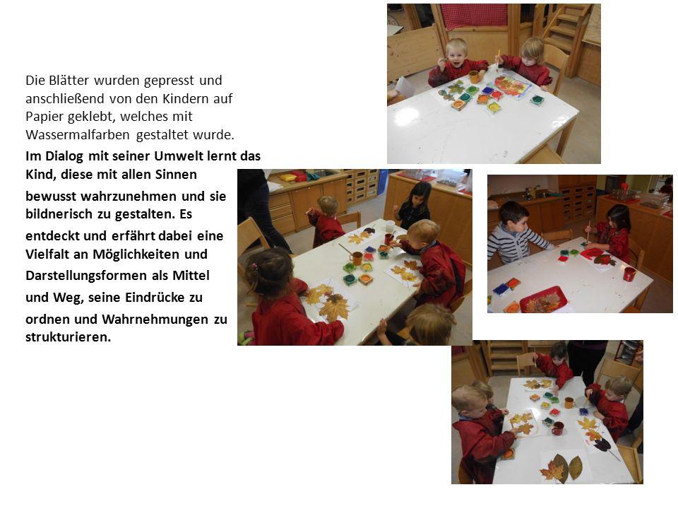 Die Blätter wurden gepresst und anschließend von den Kindern auf Papier geklebt, welches mit Wassermalfarben gestaltet wurde.