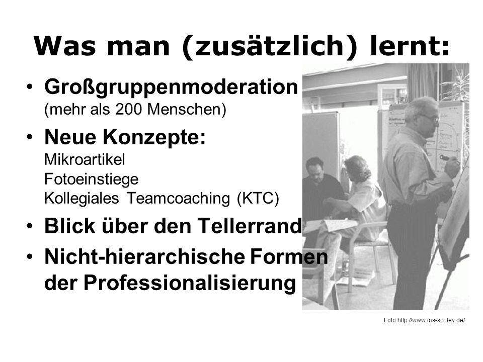 Was man (zusätzlich) lernt: Großgruppenmoderation (mehr als 200 Menschen) Neue Konzepte: Mikroartikel Fotoeinstiege Kollegiales Teamcoaching (KTC) Bli