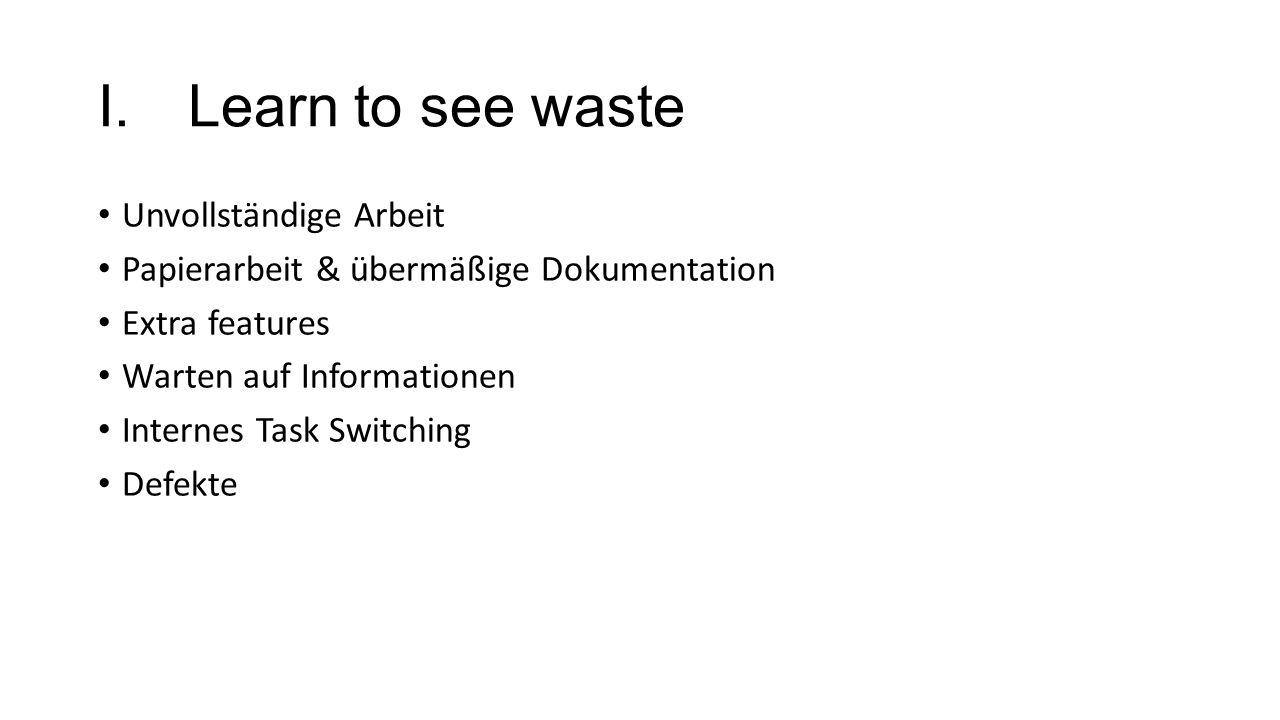 I.Learn to see waste Unvollständige Arbeit Papierarbeit & übermäßige Dokumentation Extra features Warten auf Informationen Internes Task Switching Def