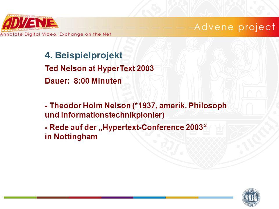 4. Beispielprojekt Ted Nelson at HyperText 2003 Dauer: 8:00 Minuten - Theodor Holm Nelson (*1937, amerik. Philosoph und Informationstechnikpionier) -