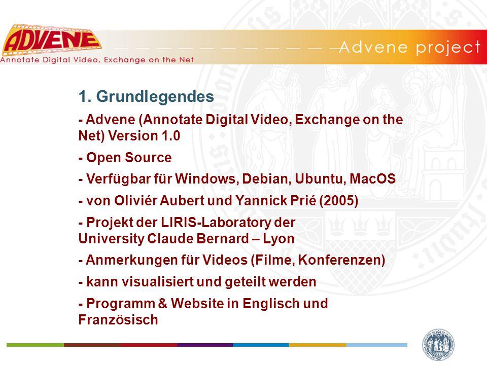1. Grundlegendes - Advene (Annotate Digital Video, Exchange on the Net) Version 1.0 - Open Source - Verfügbar für Windows, Debian, Ubuntu, MacOS - von