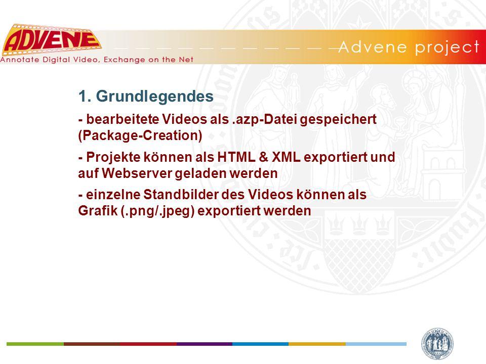 1. Grundlegendes - bearbeitete Videos als.azp-Datei gespeichert (Package-Creation) - Projekte können als HTML & XML exportiert und auf Webserver gelad