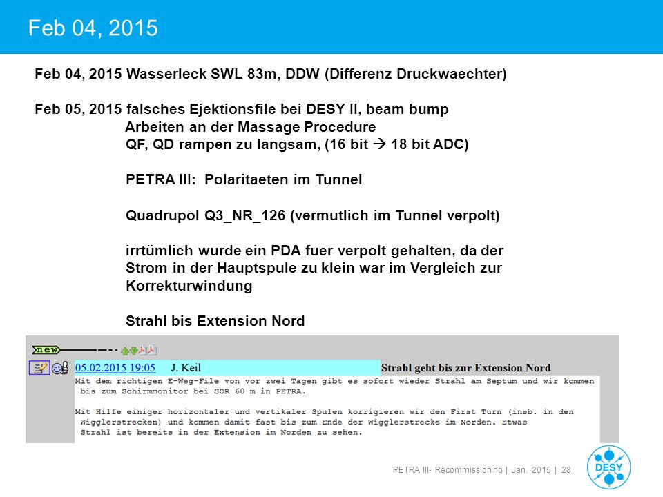 PETRA III- Recommissioning | Jan. 2015 | 28 Feb 04, 2015 Feb 04, 2015 Wasserleck SWL 83m, DDW (Differenz Druckwaechter) Feb 05, 2015 falsches Ejektion