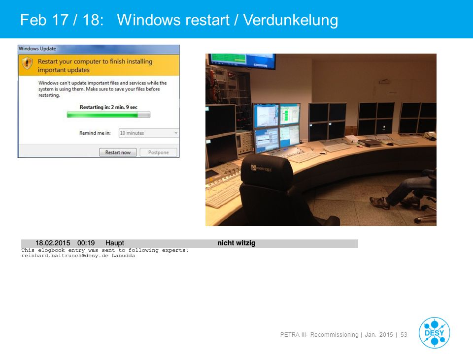 PETRA III- Recommissioning | Jan. 2015 | 53 Feb 17 / 18: Windows restart / Verdunkelung