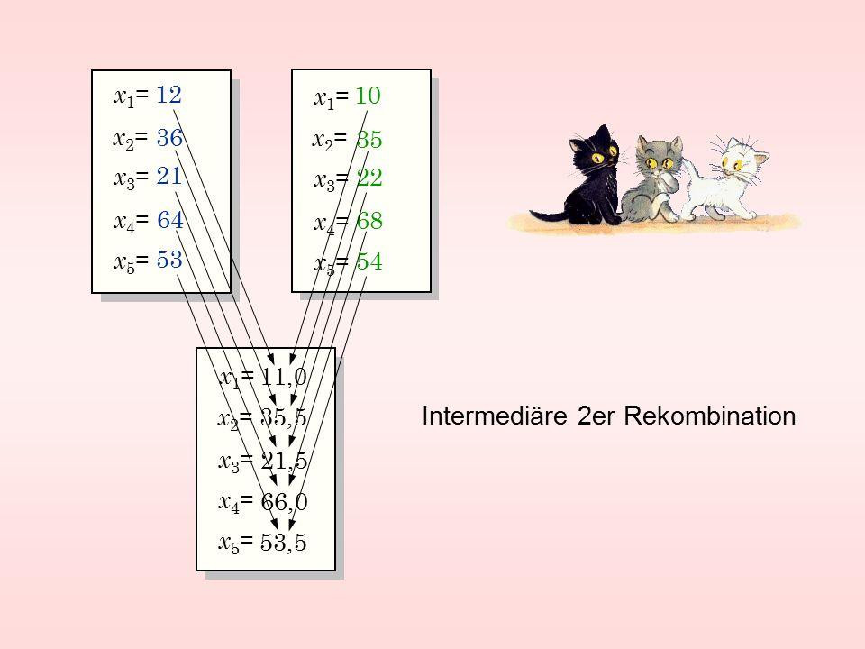 x2=x2= x3=x3= x1=x1= x5=x5= x4=x4= 12 53 36 64 21 x2=x2= x3=x3= x1=x1= x5=x5= x4=x4= 10 54 35 68 22 x2=x2= x3=x3= x1=x1= x5=x5= x4=x4= Intermediäre 2er Rekombination 35,5 11,0 21,5 66,0 53,5