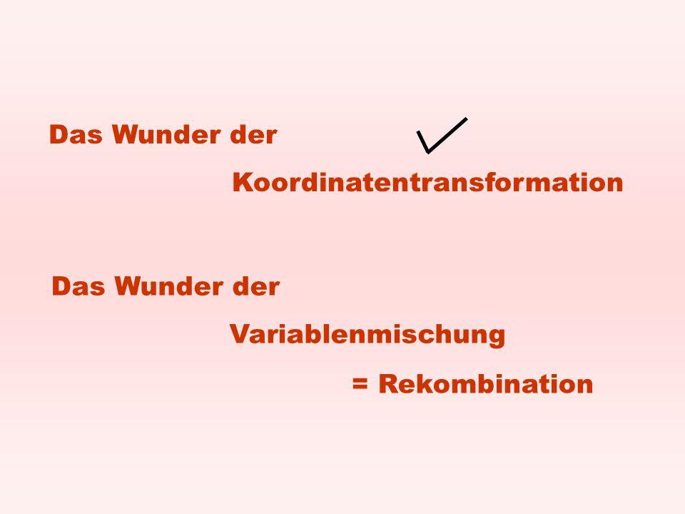 Das Wunder der Koordinatentransformation Das Wunder der Variablenmischung = Rekombination