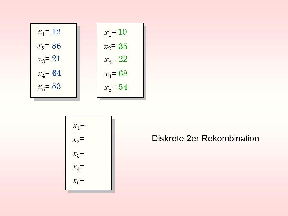 x2=x2= x3=x3= x1=x1= x5=x5= x4=x4= 12 53 36 64 21 x2=x2= x3=x3= x1=x1= x5=x5= x4=x4= 10 54 35 68 22 x2=x2= x3=x3= x1=x1= x5=x5= x4=x4= 12 35 22 64 54 Diskrete 2er Rekombination