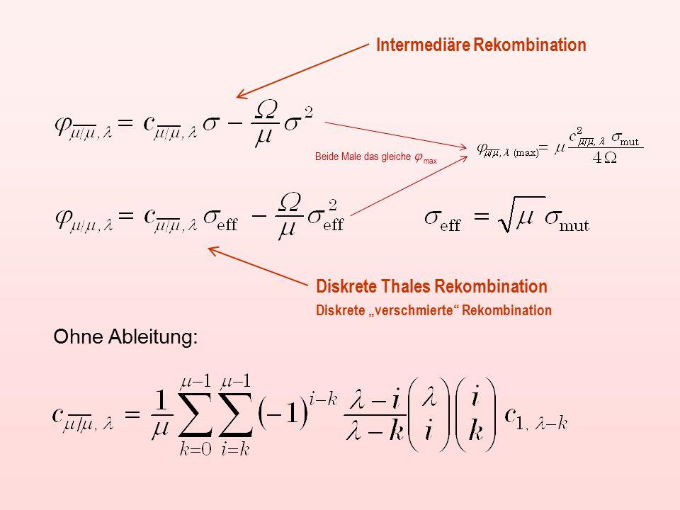 "Ohne Ableitung: Intermediäre Rekombination Diskrete Thales Rekombination Beide Male das gleiche  max Diskrete ""verschmierte Rekombination"