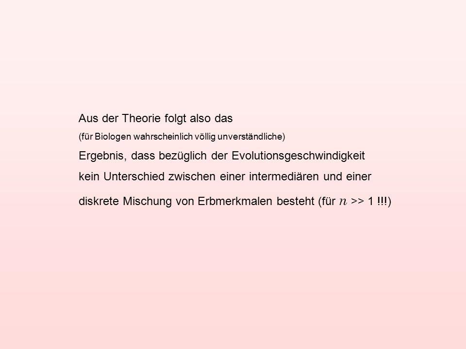 Aus der Theorie folgt also das (für Biologen wahrscheinlich völlig unverständliche) Ergebnis, dass bezüglich der Evolutionsgeschwindigkeit kein Unterschied zwischen einer intermediären und einer diskrete Mischung von Erbmerkmalen besteht (für n >> 1 !!!)