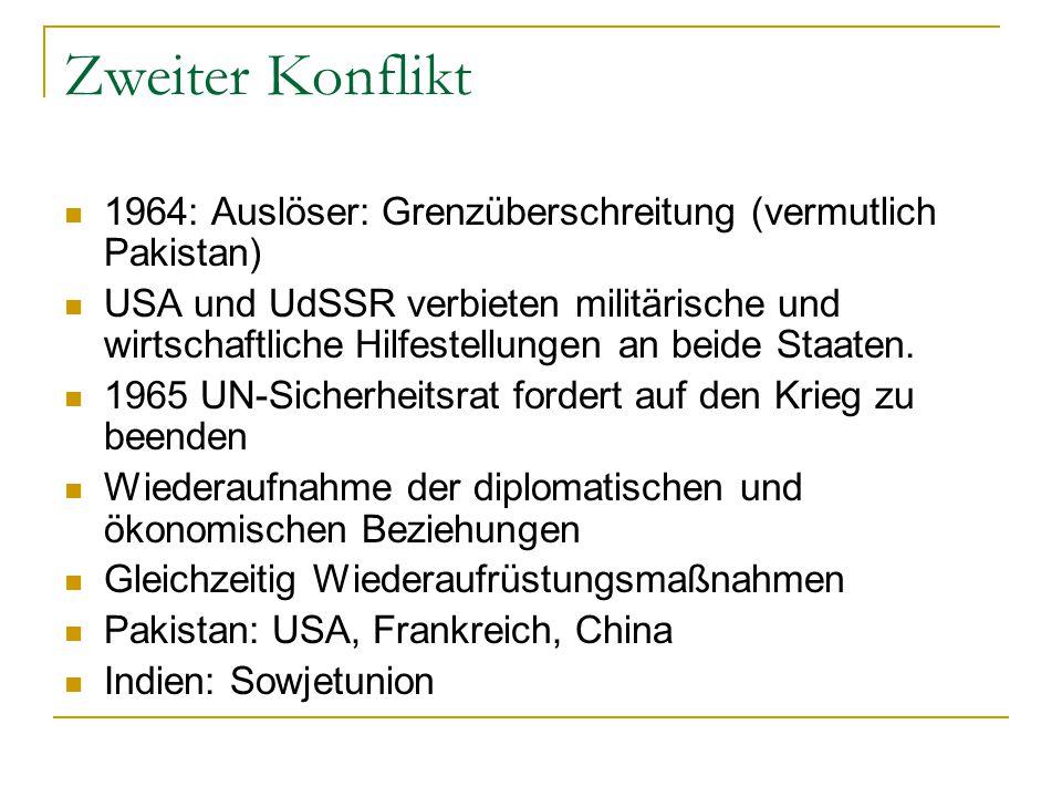 Zweiter Konflikt 1964: Auslöser: Grenzüberschreitung (vermutlich Pakistan) USA und UdSSR verbieten militärische und wirtschaftliche Hilfestellungen an