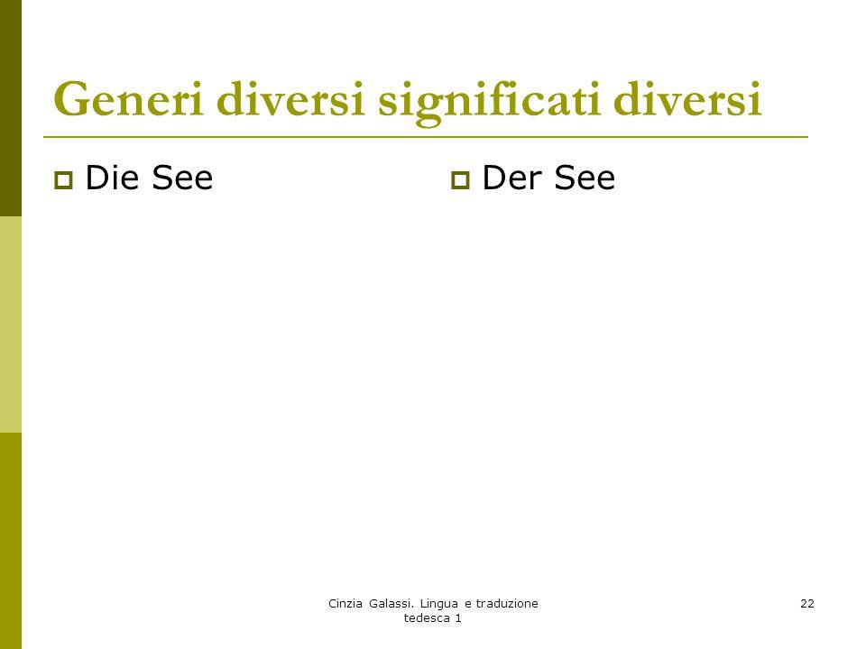 Generi diversi significati diversi  Die See  Der See Cinzia Galassi. Lingua e traduzione tedesca 1 22