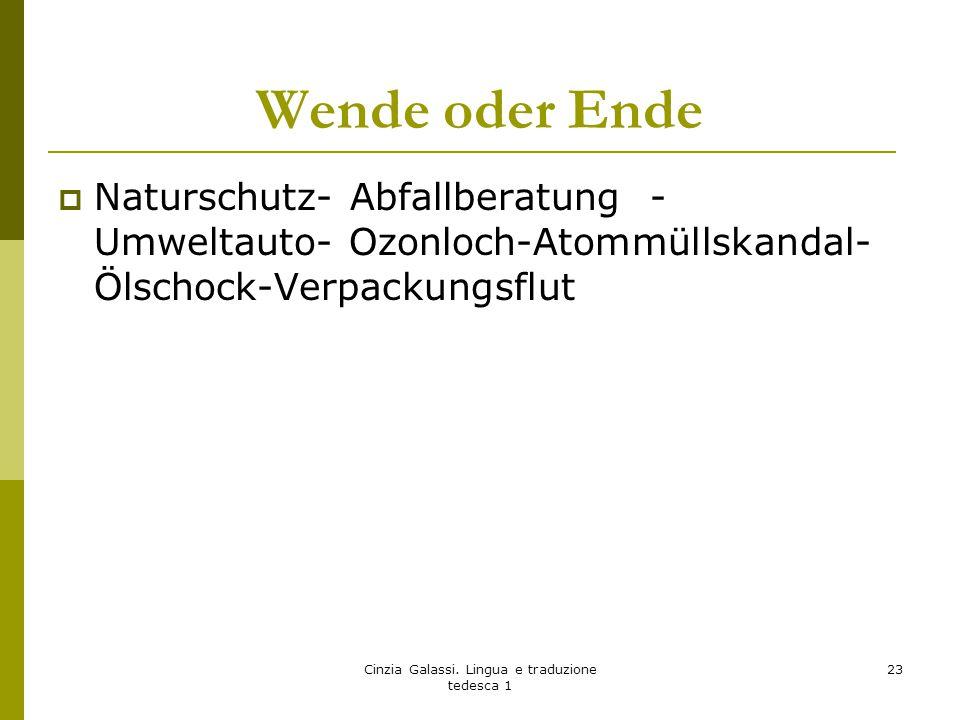 Wende oder Ende  Naturschutz- Abfallberatung - Umweltauto- Ozonloch-Atommüllskandal- Ölschock-Verpackungsflut Cinzia Galassi. Lingua e traduzione ted