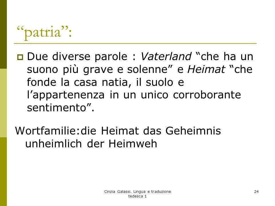 """""""patria"""":  Due diverse parole : Vaterland """"che ha un suono più grave e solenne"""" e Heimat """"che fonde la casa natia, il suolo e l'appartenenza in un un"""