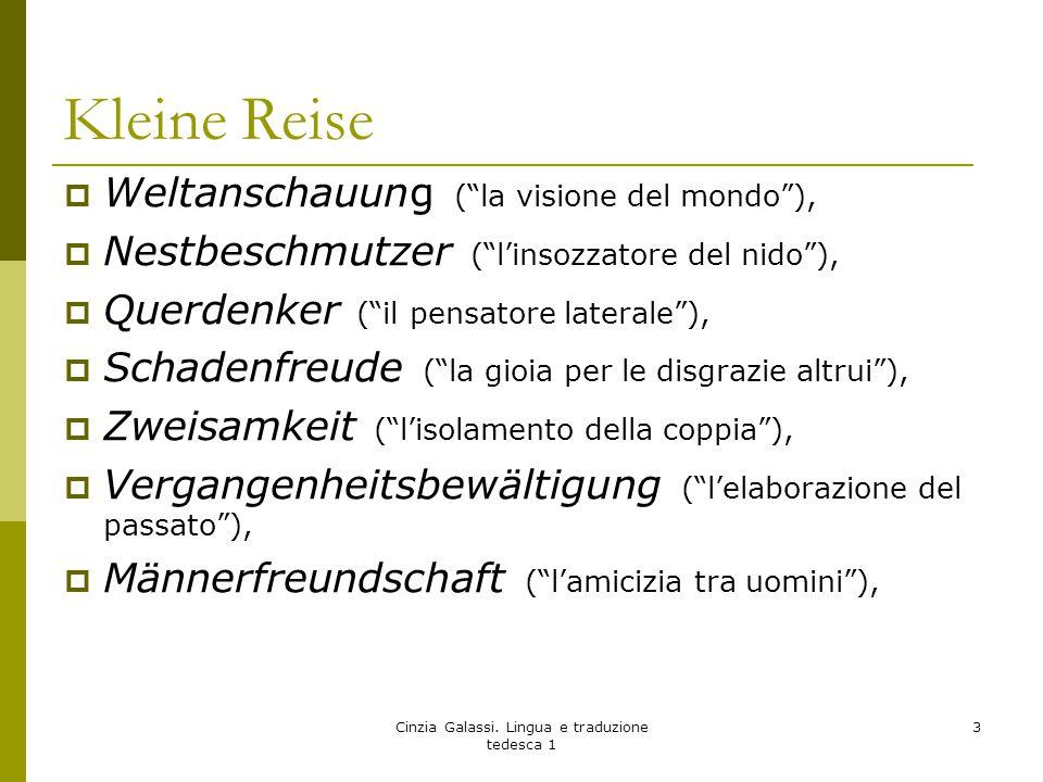 """Kleine Reise  Weltanschauung (""""la visione del mondo""""),  Nestbeschmutzer (""""l'insozzatore del nido""""),  Querdenker (""""il pensatore laterale""""),  Schade"""