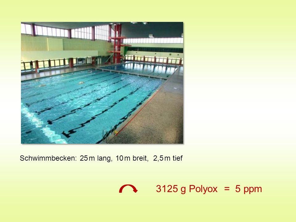 Schwimmbecken: 25 m lang, 10 m breit, 2,5 m tief 3125 g Polyox = 5 ppm