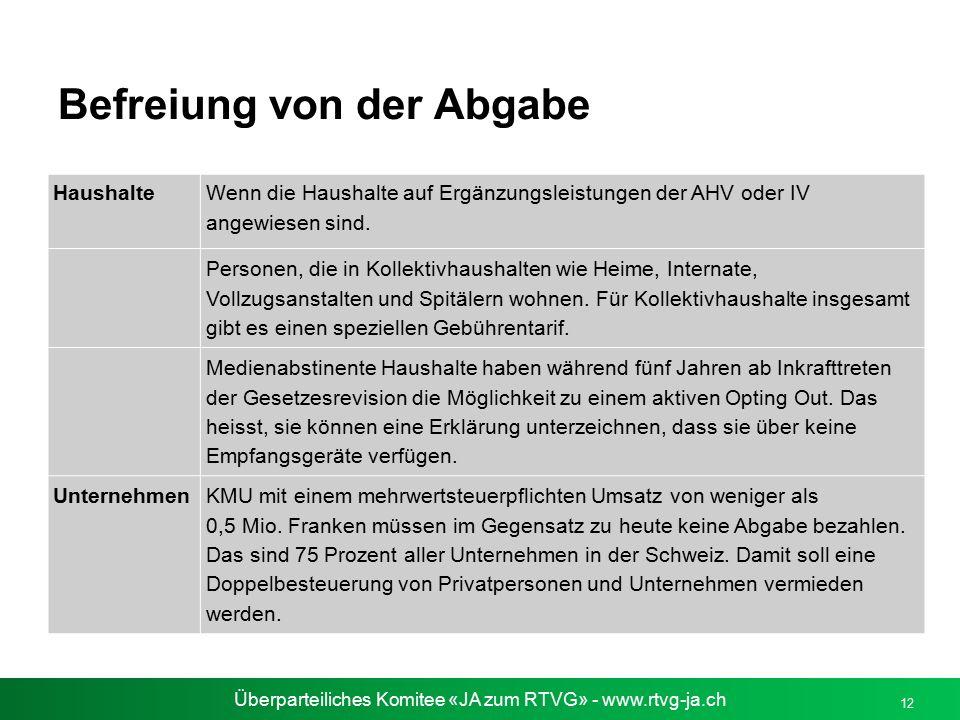 Überparteiliches Komitee «JA zum RTVG» - www.rtvg-ja.ch 12 Befreiung von der Abgabe Haushalte Wenn die Haushalte auf Ergänzungsleistungen der AHV oder