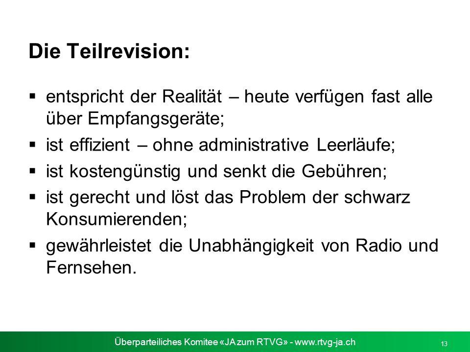 Überparteiliches Komitee «JA zum RTVG» - www.rtvg-ja.ch Die Teilrevision:  entspricht der Realität – heute verfügen fast alle über Empfangsgeräte; 