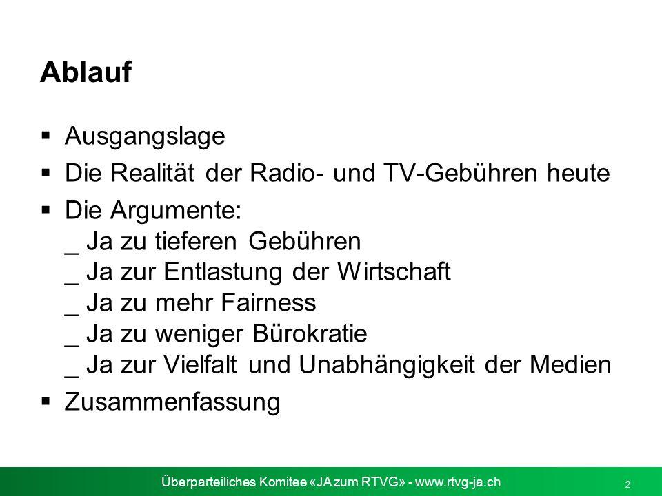 Überparteiliches Komitee «JA zum RTVG» - www.rtvg-ja.ch 2 Ablauf  Ausgangslage  Die Realität der Radio- und TV-Gebühren heute  Die Argumente: _ Ja