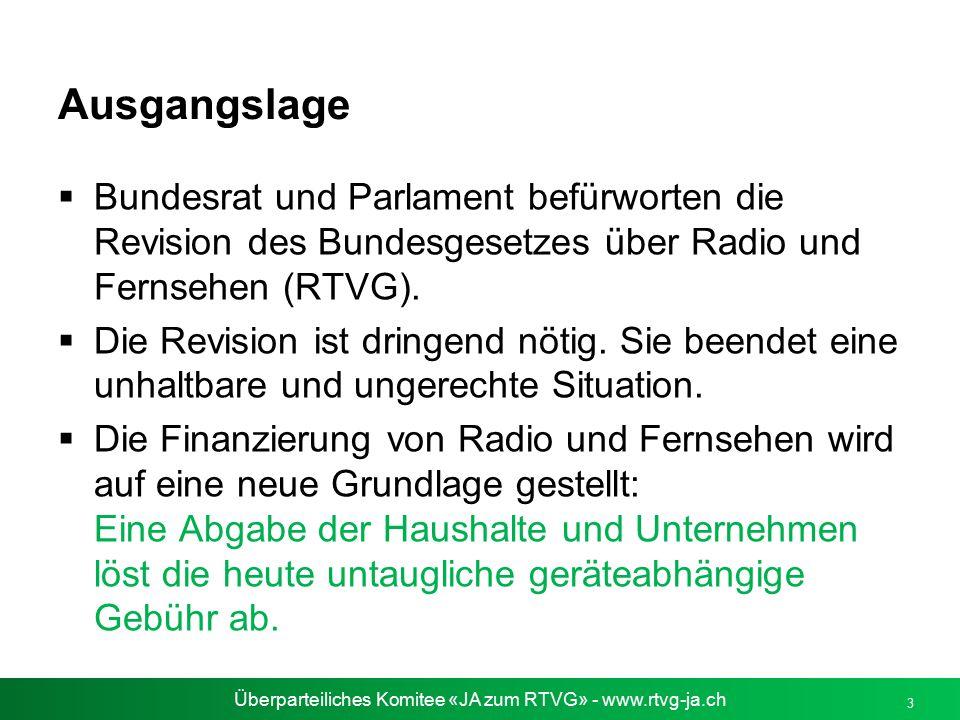 Überparteiliches Komitee «JA zum RTVG» - www.rtvg-ja.ch 3 Ausgangslage  Bundesrat und Parlament befürworten die Revision des Bundesgesetzes über Radi