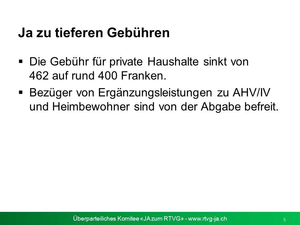 Überparteiliches Komitee «JA zum RTVG» - www.rtvg-ja.ch 5 Ja zu tieferen Gebühren  Die Gebühr für private Haushalte sinkt von 462 auf rund 400 Franke