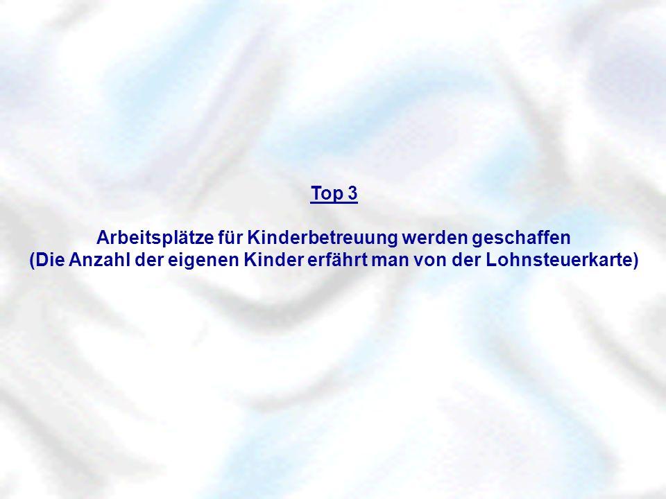 Top 3 Arbeitsplätze für Kinderbetreuung werden geschaffen (Die Anzahl der eigenen Kinder erfährt man von der Lohnsteuerkarte)