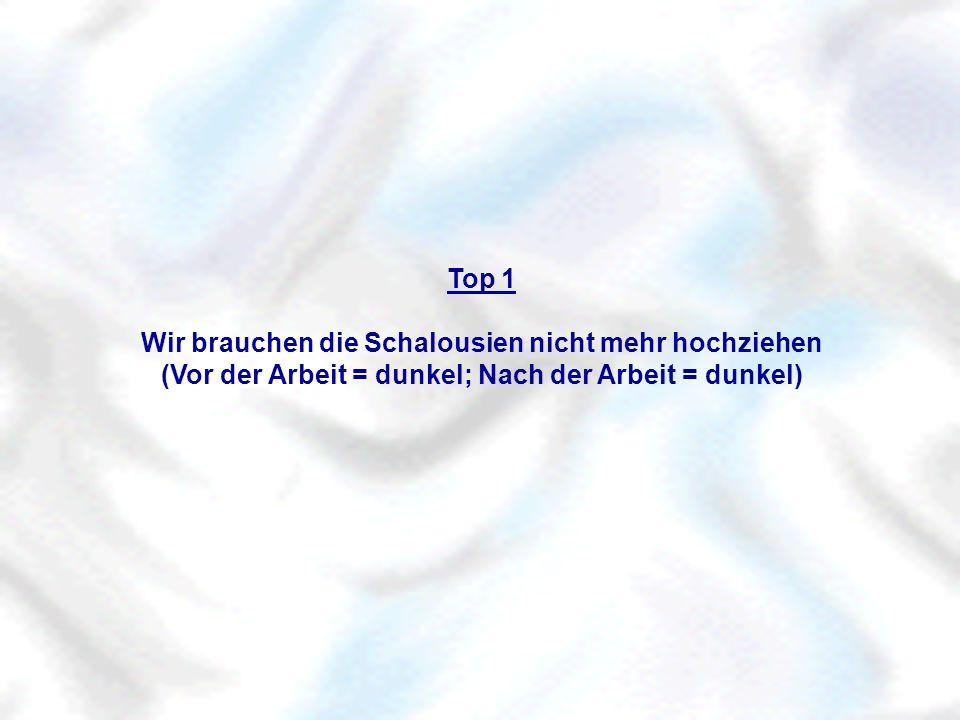 Top 1 Wir brauchen die Schalousien nicht mehr hochziehen (Vor der Arbeit = dunkel; Nach der Arbeit = dunkel)