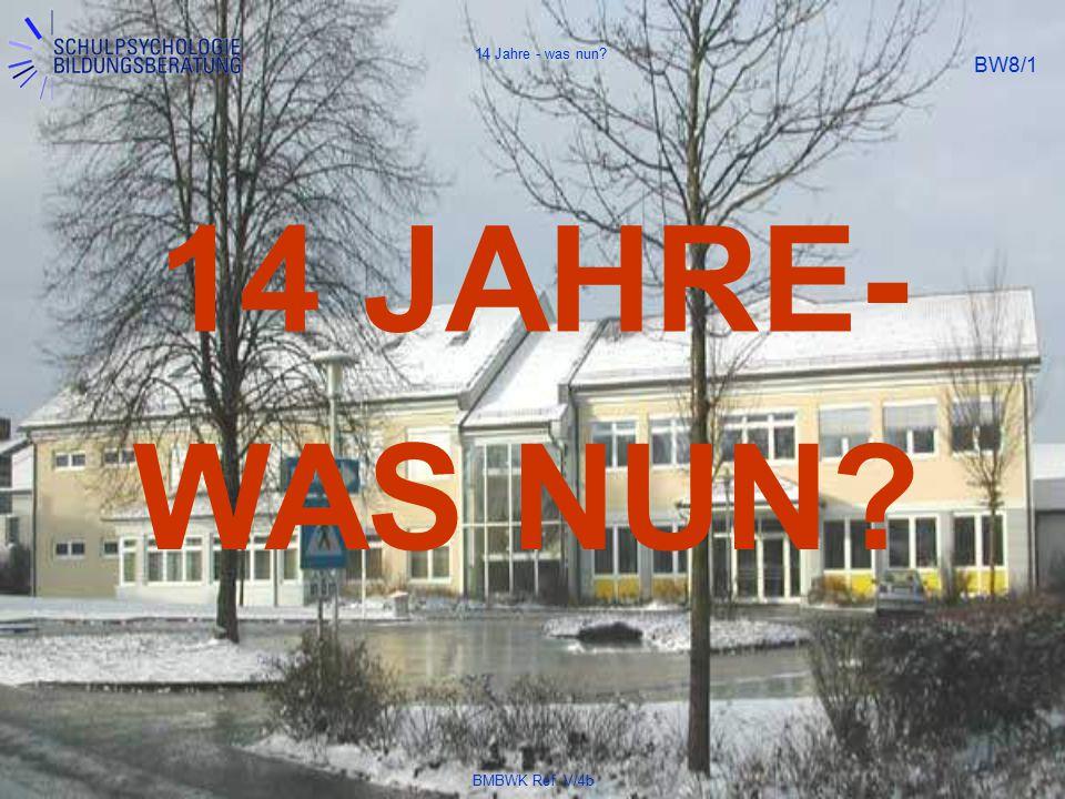 BMBWK Ref. V/4b BW8/1 14 JAHRE- WAS NUN? 14 Jahre - was nun?